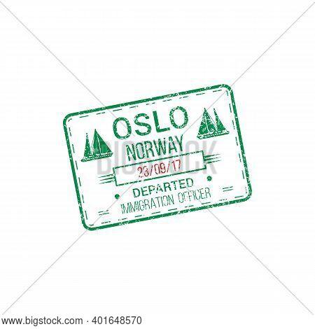Immigration Officer Visa Stamp Departed From Oslo, Norway. Vector International Harbor Mark