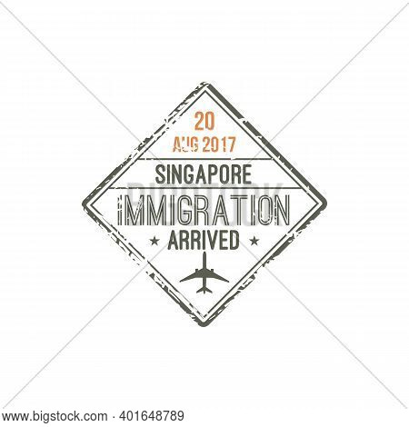Singapore Immigration Visa Stamp Isolated. Vector Arrival Seal Template To Changi Airport, Sin