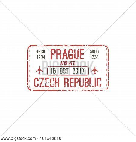 Arrival Stamp To Prague, Czech Republic Isolated Seal In Passport. Vector Travel By Plane, Official