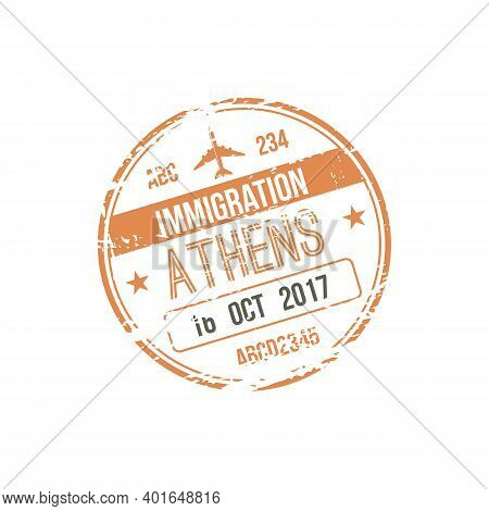 Athens Immigration Visa Stamp Isolated. Vector Arrival To Greece Sign In Passport