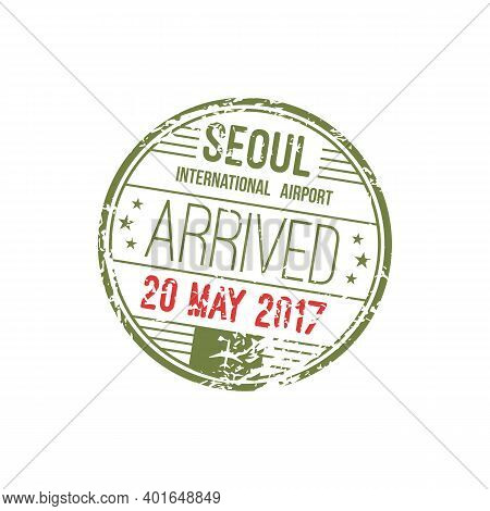 Seoul, South Korea International Airport Stamp Template Isolated. Vector Round Visa, Arrival Mark