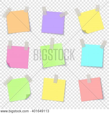 Notepaper. Realistic Colorful Papers With Adhesive Tape. Blank Stickers, Glued Reminders On Transpar