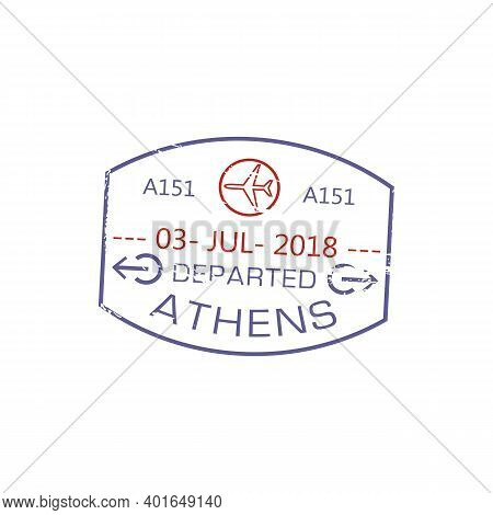 Athens Departed Visa Stamp Isolated Grunge Airport Sign With Planes. Vector Greece Border Control Si