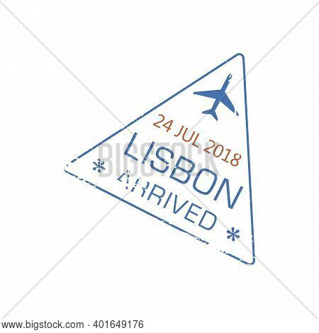 Lisbon Arrived Visa Stamp Isolated Grunge Icon With Airplane. Vector Arrival In Portugal Internation