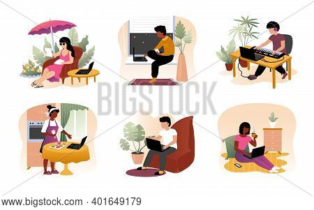 Work From Home. Cartoon Young Men And Women Sit With Laptops. Freelance Or Leisure Pastime And Hobby