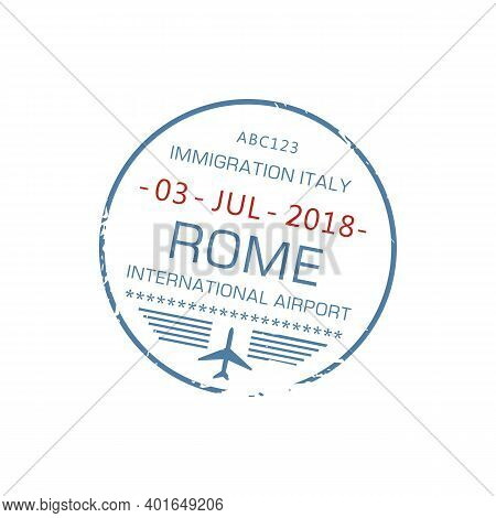 Italy Immigration Stamp Of Arrival To Rome International Airport Isolated. Vector Europe Destination