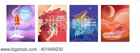 Space Landscape Posters. Cartoon Cosmonauts In Spacesuits Exploring Galaxy. Cosmic Travel And Advent