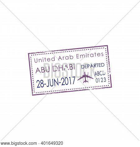 Dubai Airport Visa Stamp Isolated Uae Border Control Sign. Vector United Arab Emirates Border Passin
