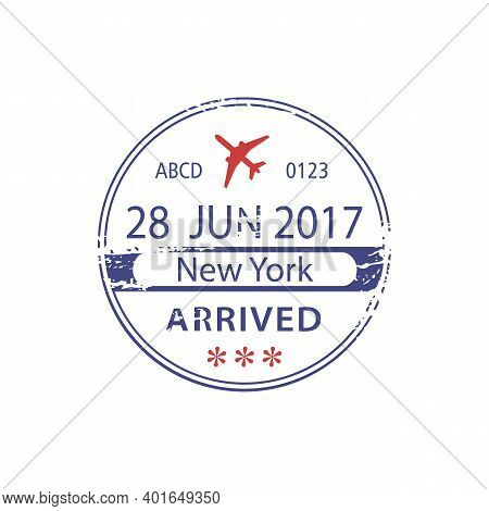 Us Border Crossing Visa Stamp In Passport Document Isolated Sign Arrived To New York, Vector