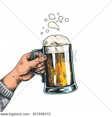 Hands With Beer Mugs. Colorful Drawn Poster With Vintage Pub Glass. Human Holding Transparent Cup Fu