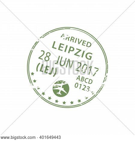Leipzig Airport Arrival Visa Stamp In Passport Isolated. Vector Germany Entry, Border Control Symbol