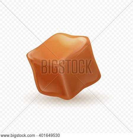 Realistic Caramel. 3d Milk Toffee Cube. Isolated Confectionery, Sweet Ingredient. Square Shaped Cand