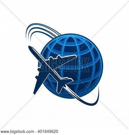 Airplane And World Globe Icon, Travel Agency Or Air Post Mail Delivery And Aviation Logistics Servic