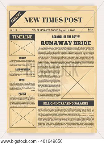 Vintage Newspaper. Old Realistic Pages With Headers And Place For Pictures, Retro Article Layout. Pu