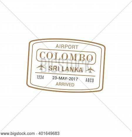 Arrival Visa To Colombo International Airport, Vector Isolated Stamp Icon, Arrived To Sri Lanka