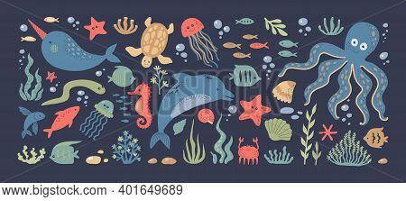 Sea Animals. Doodle Ocean Underwater Inhabitants. Colorful Marine Fish And Dolphins, Octopus Or Turt
