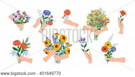 Hands With Flowers. Cartoon Blooming Bouquets. Human Arms Hold Garden Or Field Blossoming Plants. Gi