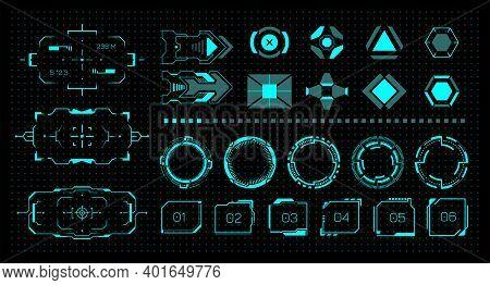 Hud Kit. Futuristic Virtual Game Ui. Neon Buttons And Frames. Modern Digital Graphic Hologram Elemen
