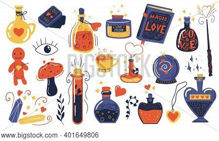 Love Potion. Doodle Magical Elixir. Bottles And Vials With Alchemical Beverages. Isolated Witchcraft