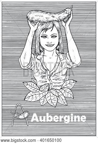 Young Beautiful Woman Holding Aubergine Vegetable Over Striped Background. Hand Drawn Black And Whit