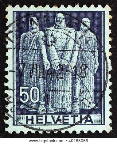 Postage Stamp Switzerland 1941 The Three Swiss, Oath On Rutli Mo