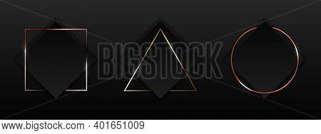 Set Of Black Square With Geometric Border Gold, Pink Gold, Copper Metallic Frame Badge On Dark Backg