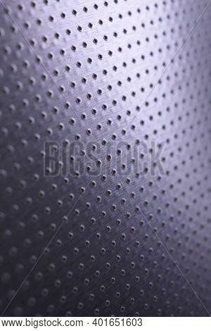 Tinted Violet Or Purple Metallic Background. Dark Vertical Tech Wallpaper. Perforated Aluminum Surfa