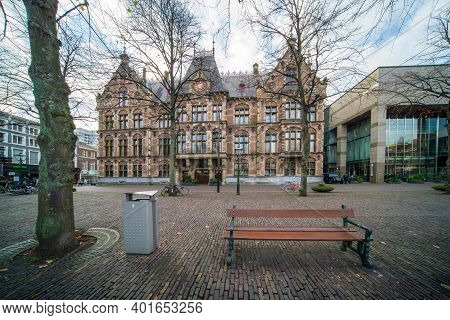 The Hague, The Netherlands - November 10, 2020: Department Of Justice Building In The Center Of The