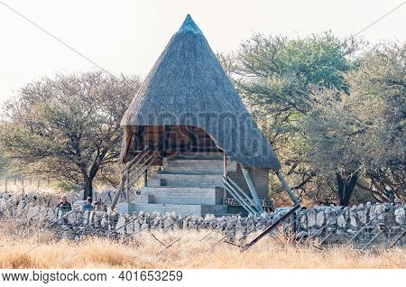 Etosha National Park, Namibia - June 12, 2012: A Pavilion At The Waterhole Viewpoint In Okaukeujo Re