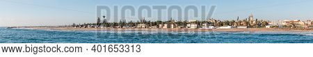 Swakopmund, Namibia - June 18, 2012: A Panoramic Beach Scene, As Seen From The Historic Jetty, In Sw