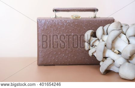Handbag Made Of Mycelium Leather, Bio Based Sustainable Alternative To Leather Made Of Mushroom Spor