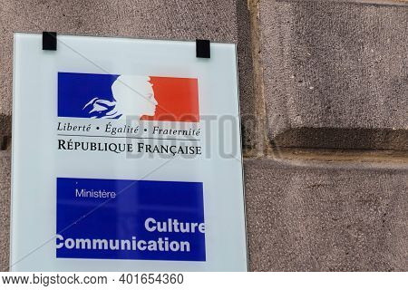 Bordeaux , Aquitaine  France - 12 28 2020 : Ministere Culture Communication French Logo And Text Sig