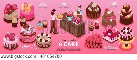 Isometric Homemade Cake Infographic With How To Make A Cake Homemade Modern Cakes Best Recipes Vecto