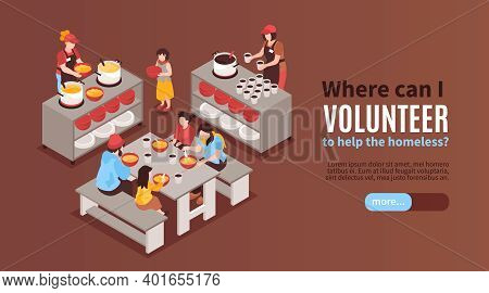 Charity Isometric Horizontal Banner With Volunteers Feeding Poor Homeless People In Shelter Vector I
