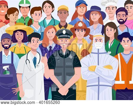 Group Of Diverse People With Various Occupations. Vector