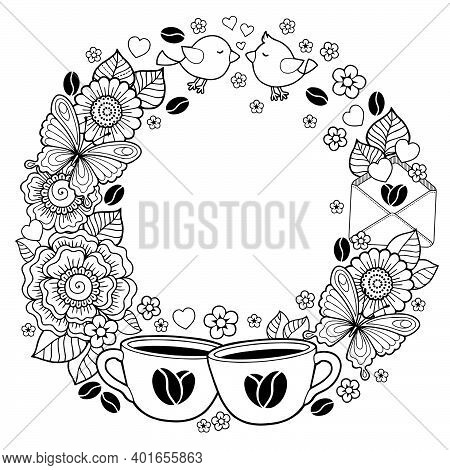 Vector Coloring Book For Adult. Design For Wedding Invitations And Valentine's Day Of Abstract Flowe