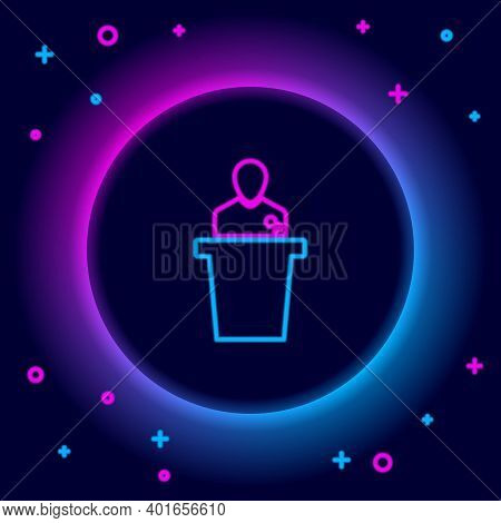 Glowing Neon Line Speaker Icon Isolated On Black Background. Orator Speaking From Tribune. Public Sp