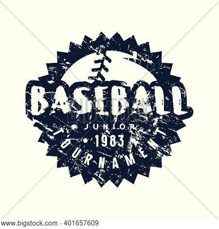Circle Emblem Of Baseball Junior Tournament. Graphic Design With Vintage Texture For T-shirt. Black