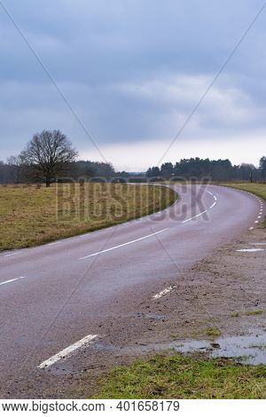 A Road At A Moor. Picture From Revingehed, Scania County, Sweden