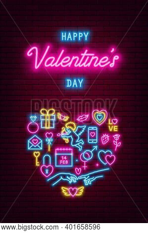 Valentines Day Neon Baner, Flyer, Poster, Greeting Card. Valentine Day Neon Signs On Brick Wall Back