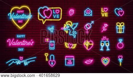 Valentines Day Glowing Neon Icons Pack. Vector Eps10