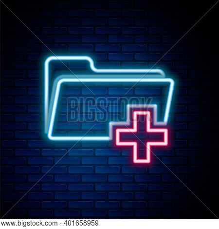 Glowing Neon Line Add New Folder Icon Isolated On Brick Wall Background. New Folder File Sign. Copy