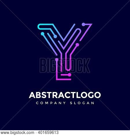 Creative Dots Logo Of Y Letter, Y Logotype Digital Technology Lines Vector.