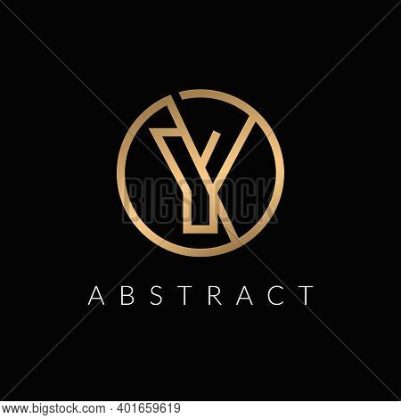 Y Letter Initial Logo Inside Circle Shape,  Rounded Gold Color Y Alphabet Icon Design.