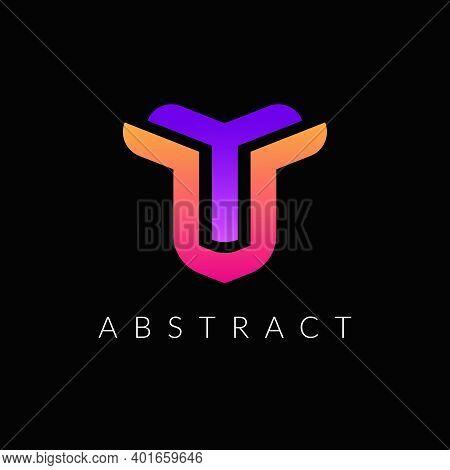 Unique Y And T Letter Logo Design - Minimal Yt Alphabet Icon Template Vector