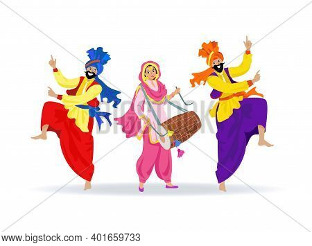 Three Merry Smiling Sikh People In Colorful Clothes, Dancing Jumping Bearded Men In Turbans, Happy L