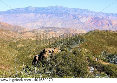 Rural Hills Covered With Chaparral Shrubs On A Mountain Ridge Taken At The High Desert Plateau In Th