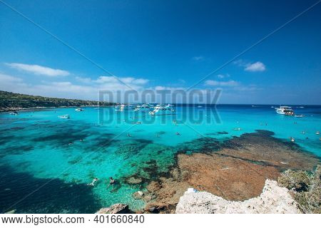 Blue Lagoon. Fontana Amoroza also know as Blue lagoon, in Latchi, Paphos, Cyprus, the most popular bay on island
