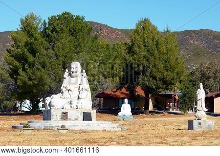 January 4, 2021 In Warner Springs, Ca:  Spritual Sculptures Including Buddha Sculptures At A Spiritu