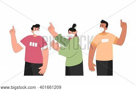 People In Medical Masks Show A Gesture With Their Index Finger. The Importance Of Using A Mask Of Pr